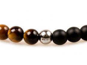 Pánský korálkový náramek JIN JANG - černý matný achát AAAA, tygří oko, korálek Morinetti