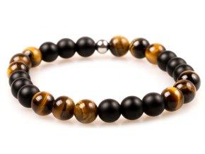 Pánský korálkový náramek JIN JANG - 8 mm, černý matný achát AAAA, tygří oko, korálek Morinetti - žluté zlato