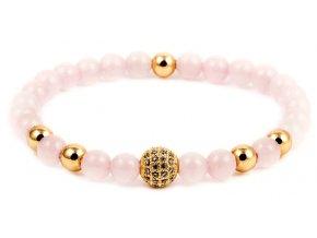 Dámský korálkový náramek - růženín AAA, disko koule