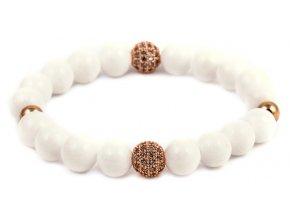 Dámský korálkový náramek - 8 mm, bílý porcelán AAAA, Disko koule - rosegold