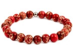 Pánský korálkový náramek - červený jaspis AAA, korálek Morinetti