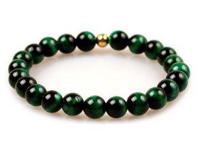 Pánský korálkový náramek - zelené tygří oko AAA, korálek Morinetti