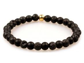 Pánský korálkový náramek - černý matný achát AAAA, lávový kámen, korálek Morinetti
