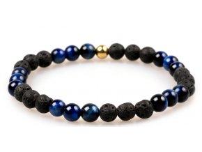 Pánský korálkový náramek - Lapis Lazuli AAAA, lávový kámen, korálek Morinetti