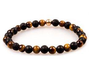 Pánský korálkový náramek - tygří oko AAAA, lávový kámen, korálek Morinetti