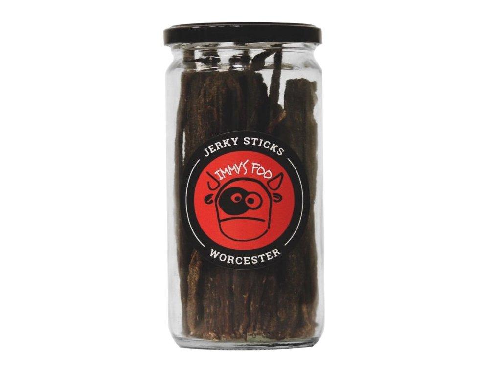 Jimmy's Food Jerky WORCESTER tyčinky ve sklenici 200g