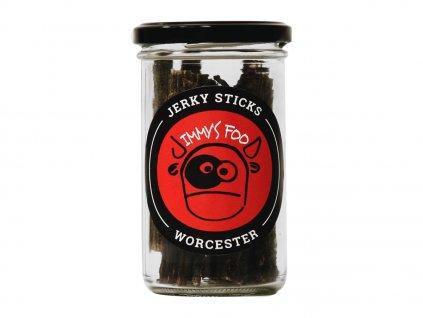 Jimmy's Food Jerky WORCESTER tyčinky ve sklenici 80g
