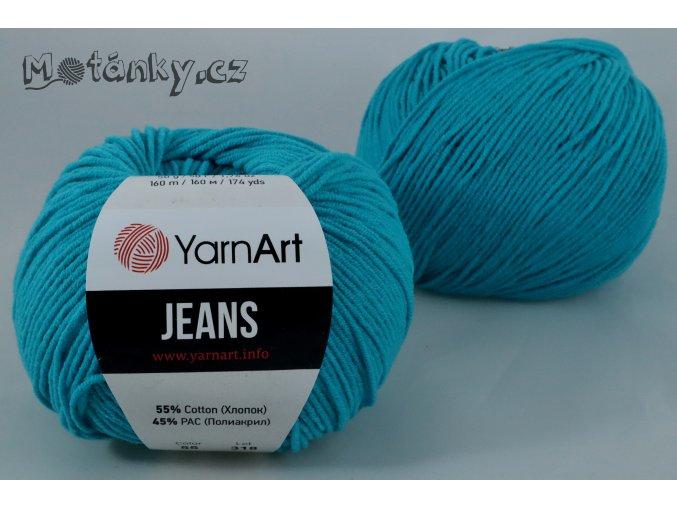 Jeans 55 tyrkysová