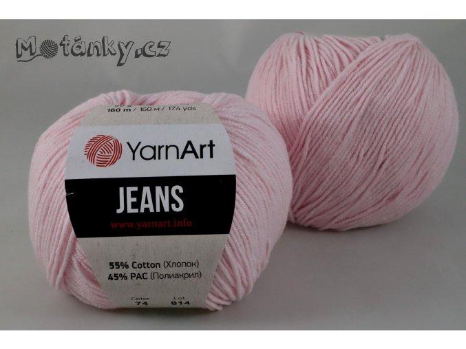 Jeans 74 pastelově růžová