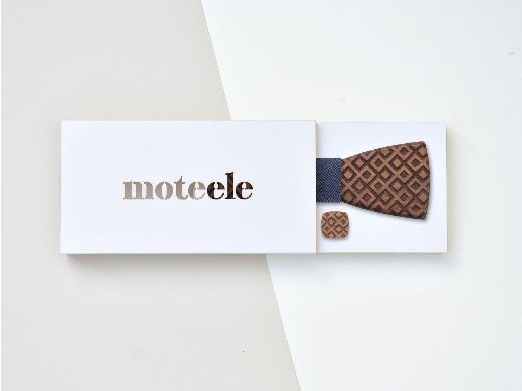 Set dřevěný motýlek + dřevěné manžetové knoflíčky MOTEELE - Ořech Square