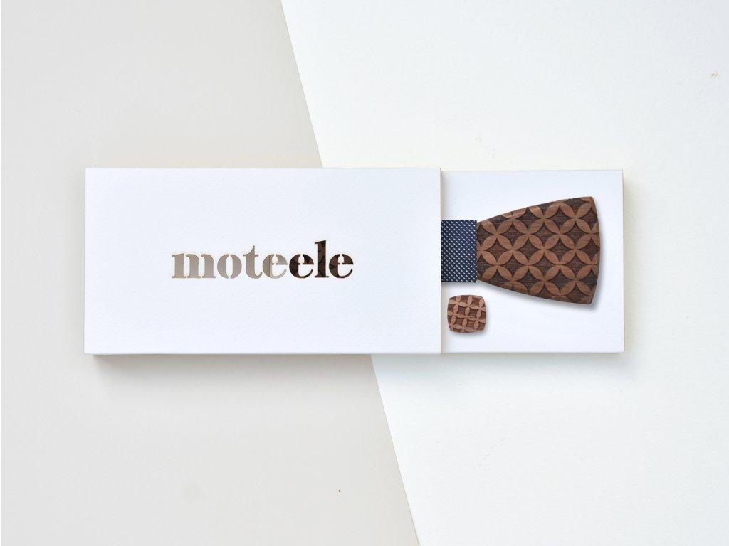 Set dřevěný motýlek + dřevěné manžetové knoflíčky MOTEELE - Ořech Classic