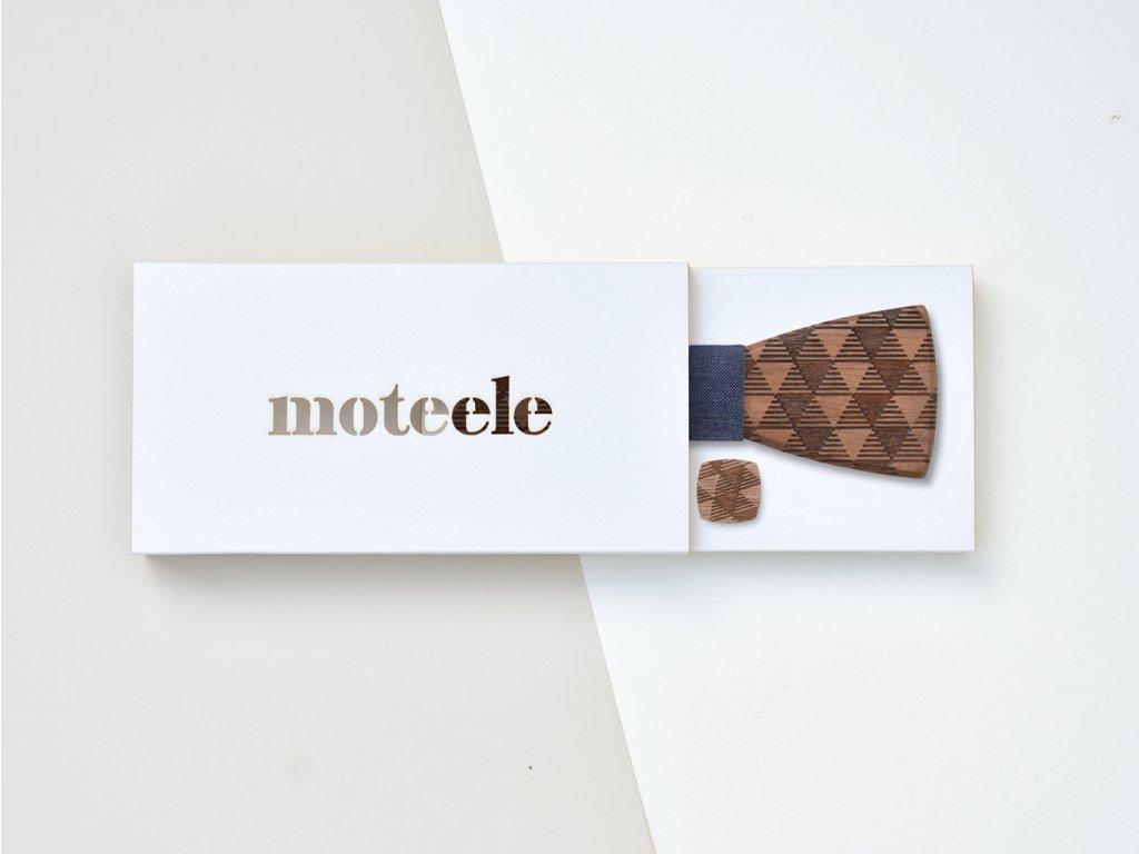 Set dřevěný motýlek + dřevěné manžetové knoflíčky MOTEELE - Ořech Triangle