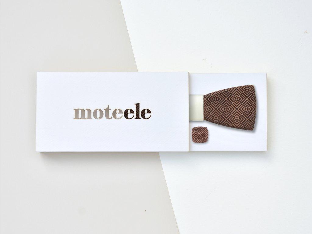 Set dřevěný motýlek + dřevěné manžetové knoflíčky MOTEELE - Ořech Wedd
