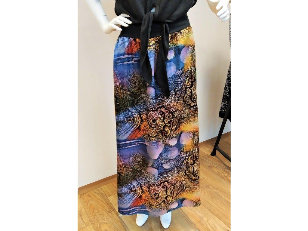 Dlouhá modrá kombinovaná sukně