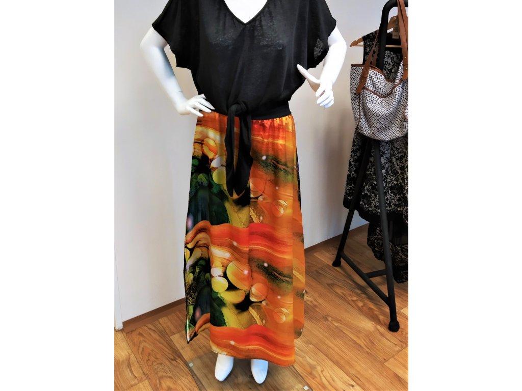 Dlouhá oranžová kombinovaná sukně