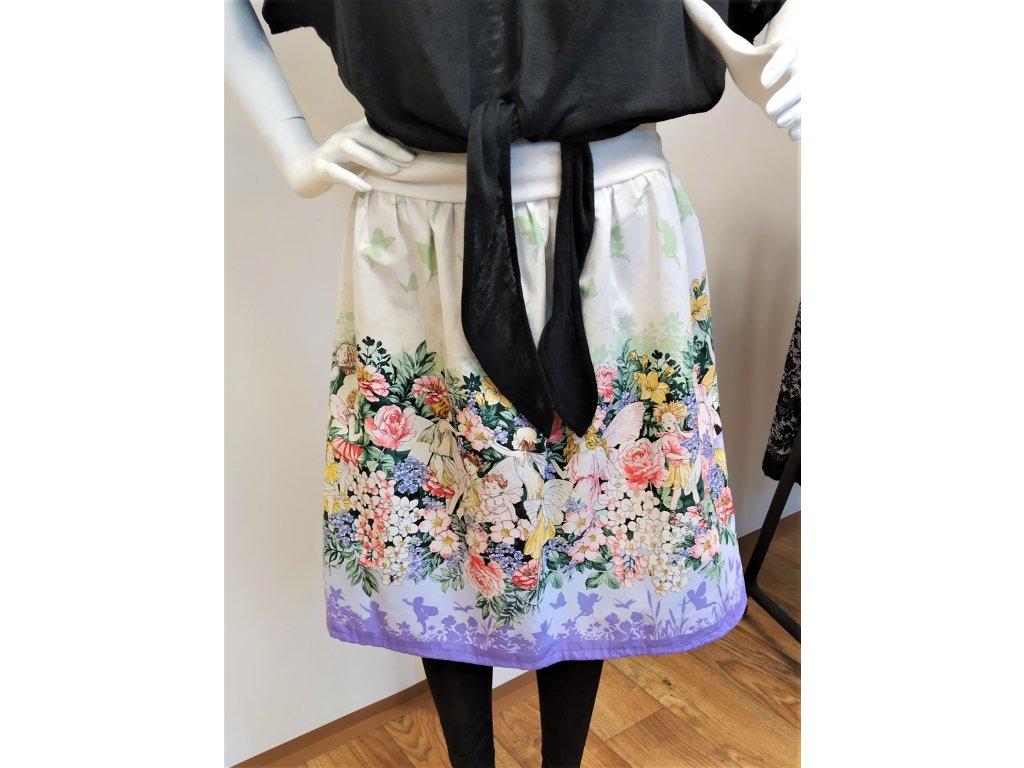 Bílá sukně s drobnými květy