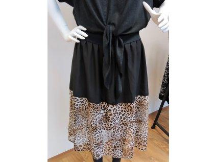 Midi hnědo-černá sukně
