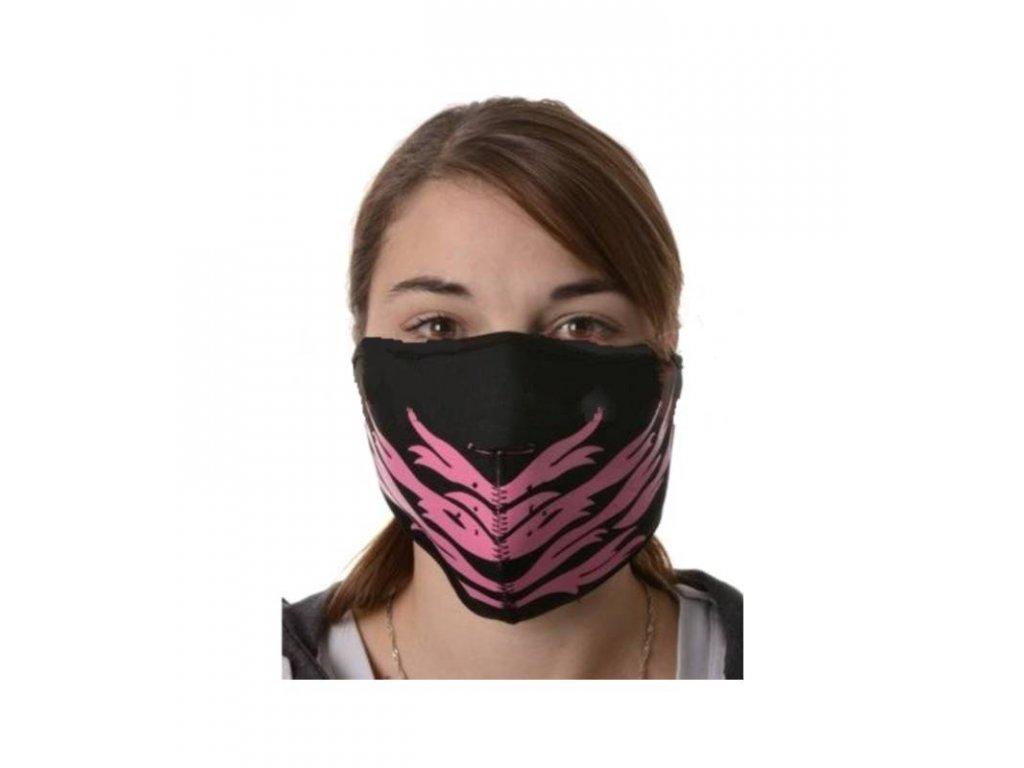 maska neoprenova pink feather emerze cerna ruzova