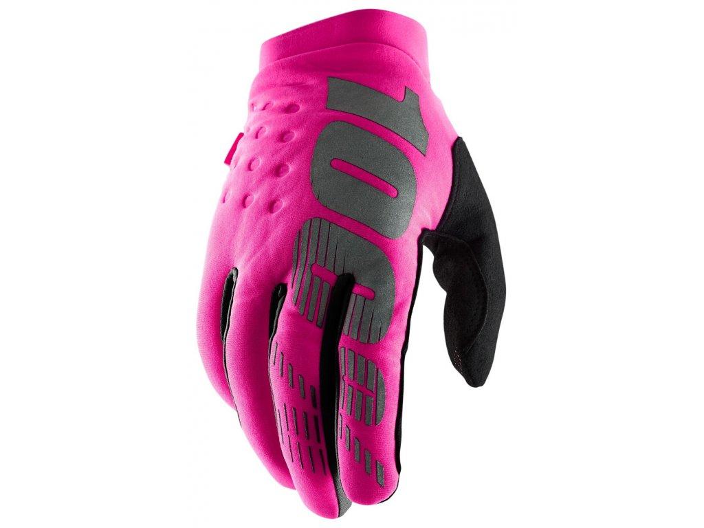 MX rukavice 100% BRISKER RŮŽOVÁ/ČERNÁ