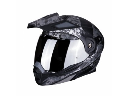 enduro přilba SCORPION ADX-1 BATTLEFLAGE matná černo/stříbrná