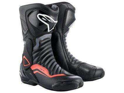 moto boty ALPINESTARS  S-MX 6 černá/šedá/červená fluo