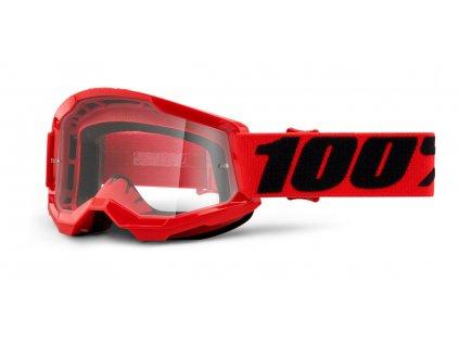 dětské MX brýle 100% STRATA 2 červené - čiré plexi