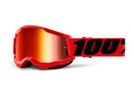 dětské MX brýle 100% STRATA 2 červené - zrcadlové červené plexi