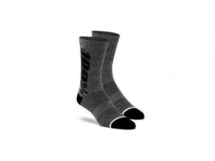 ponožky zateplené 100% RYTHYM Merino vlna šedé