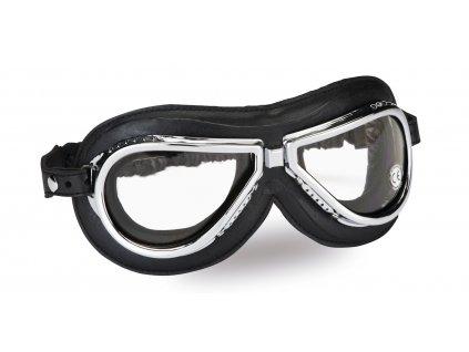 moto brýle CLIMAX Vintage 500, čirá skla
