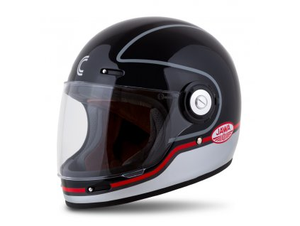 moto přilba CASSIDA Fibre Jawa Sport černá/stříbrná/červená