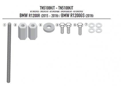 sada pro montáž TN 5108/TN 5108OX GIVI TN5108KIT BMW R 1200 R/RS (16-18) a R 1200 GS (16-18)