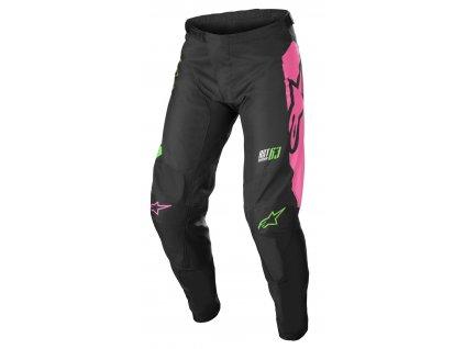 dětské MX kalhoty ALPINESTARS RACER COMPASS 2022 černá/zelená neon/růžová fluo