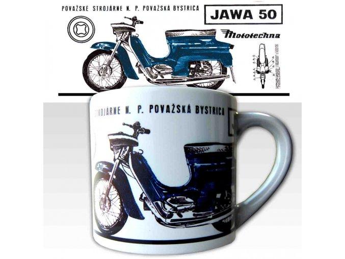 Malý hrnek s potiskem motocyklu Jawa 50 modrá