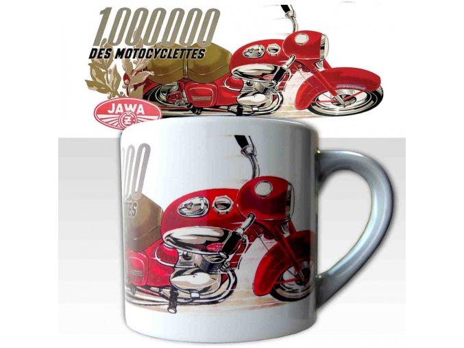 Malý hrnek s potiskem motocyklu Jawa milion