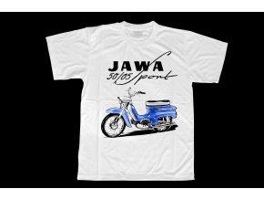 Triko s potiskem motocyklu Jawa 50 Pionýr modrý