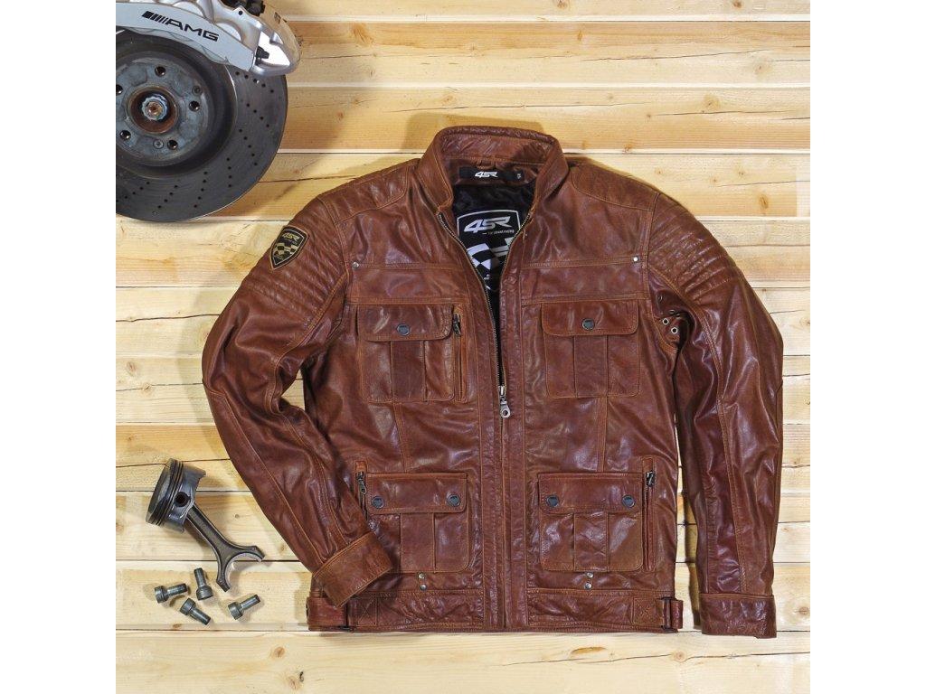 Kožená pánská bunda 4SR Gangster brown Racing Syndicate