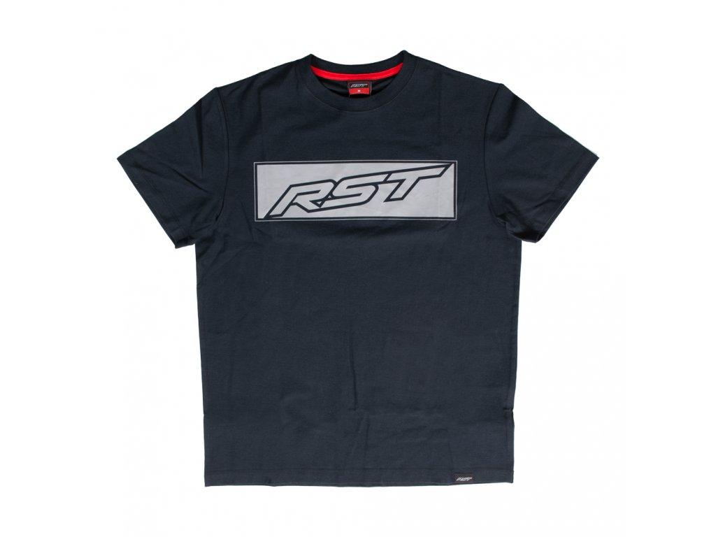 tričko rst logo block tshirt black grey 01
