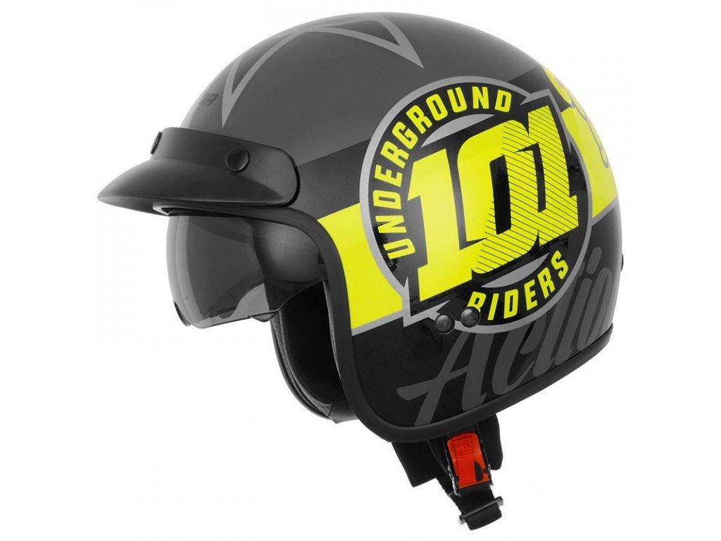 Přilba Cassida Oxygen 101 Riders žlutá fluo černá stříbrná metalíza M140 711