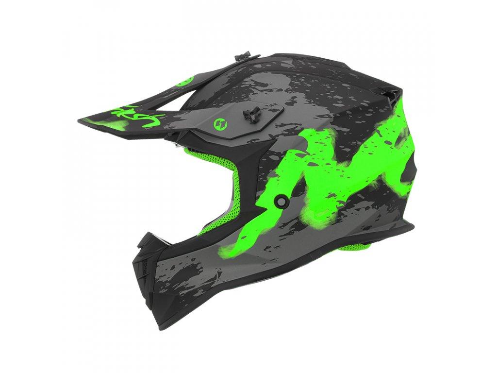 DETSKA PRILBA NOX N632K TRASH GREEN YELLOW FLUO MAT