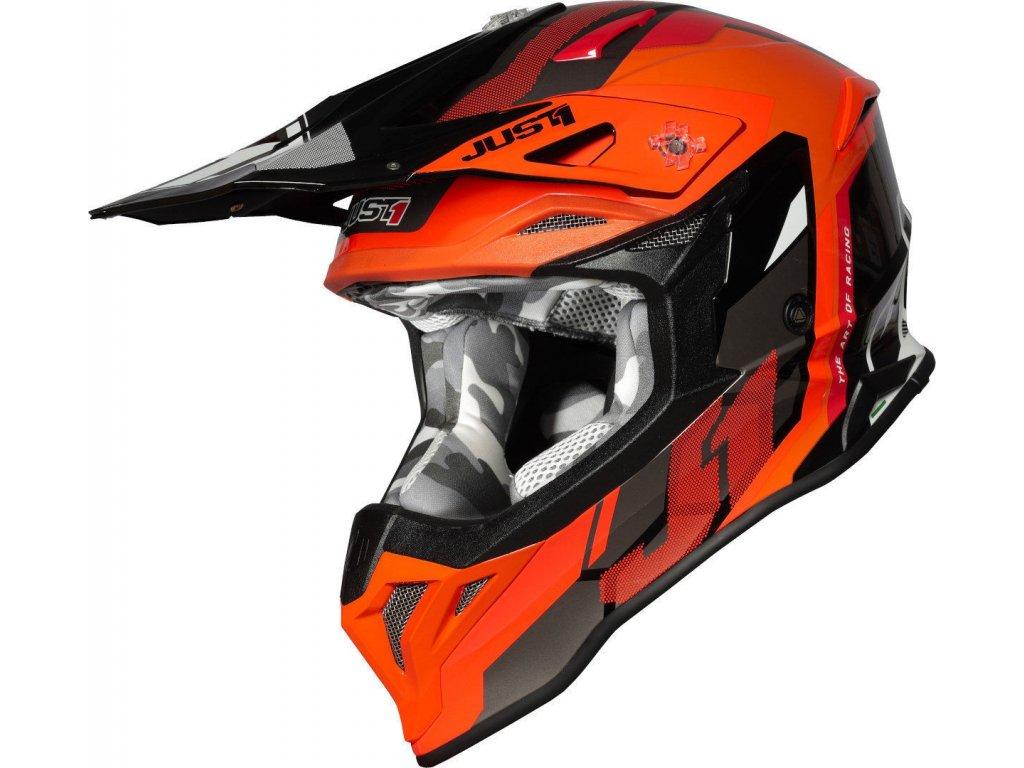 Moto přilba JUST1 J39 REACTOR neonově oranžovo černá