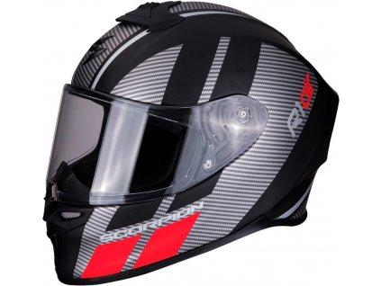 Scorpion EXO R1 AIR CORPUS Mat Black Silver Red