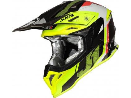 Moto přilba JUST1 J39 REACTOR matná neonově žluto červeno titanová