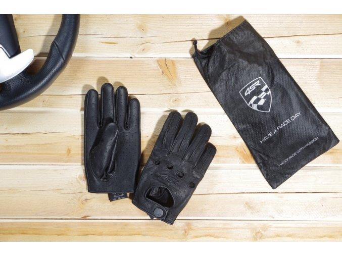 Kožené rukavice 4SR car classic black Racing Syndicate