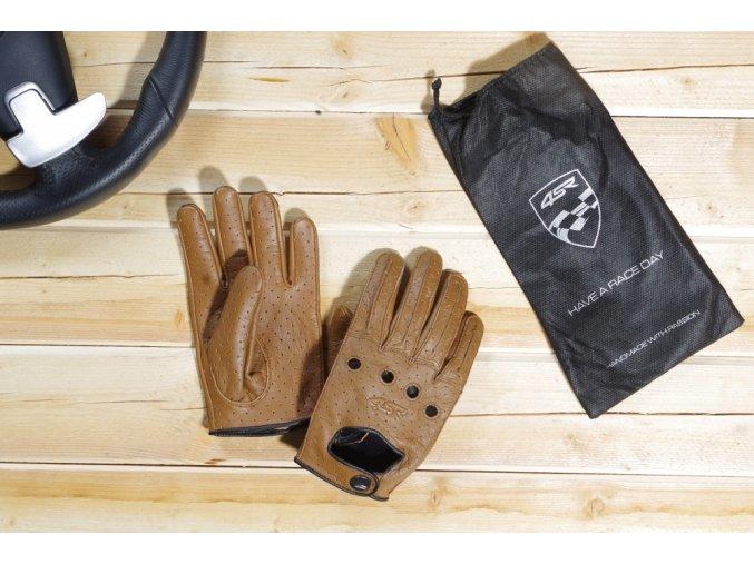 Kožené rukavice 4SR car classic brown Racing Syndicate