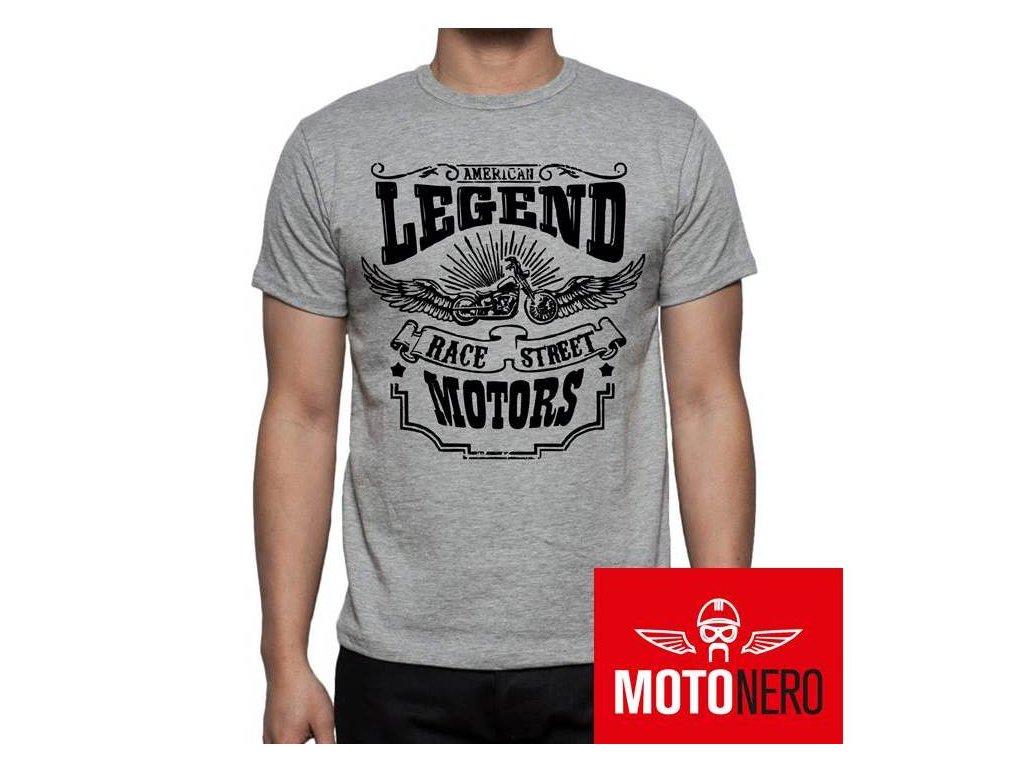83a27d43b288 AMERICAN LEGENDS - pánské triko šedé - MotoNero.cz
