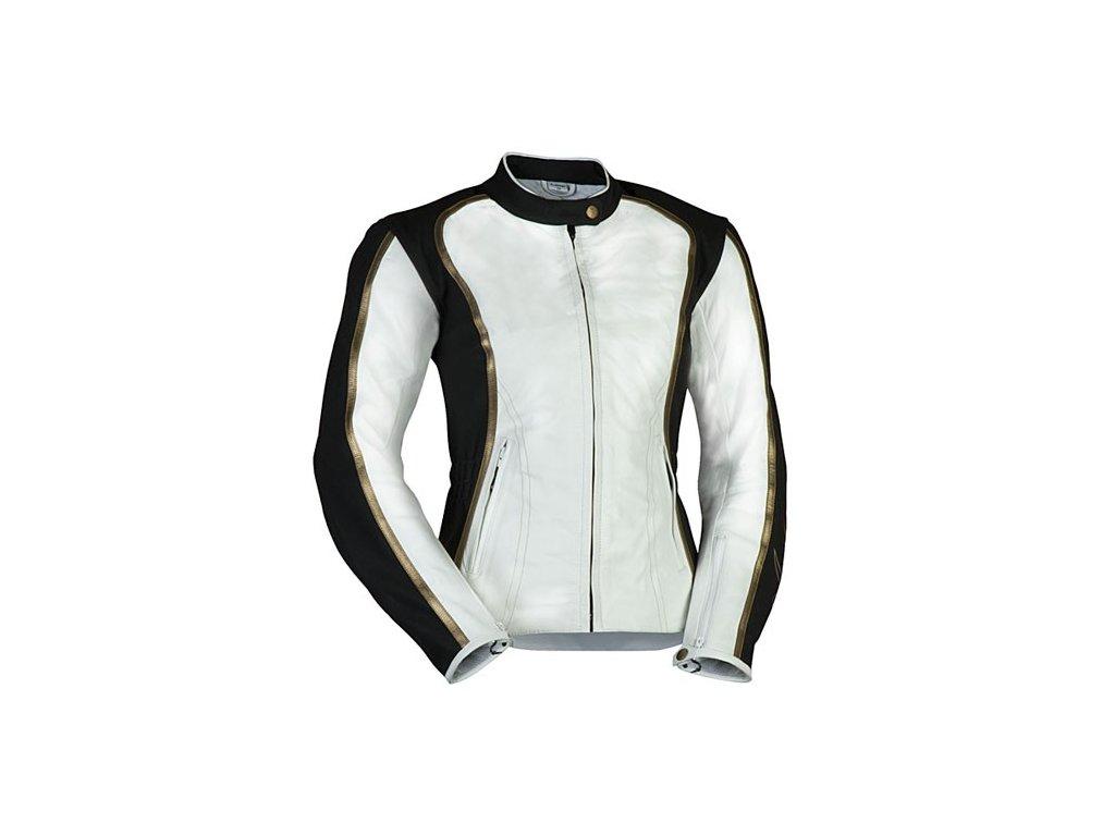 MBW ANITA dámská kožená moto bunda bílá černá zlatá
