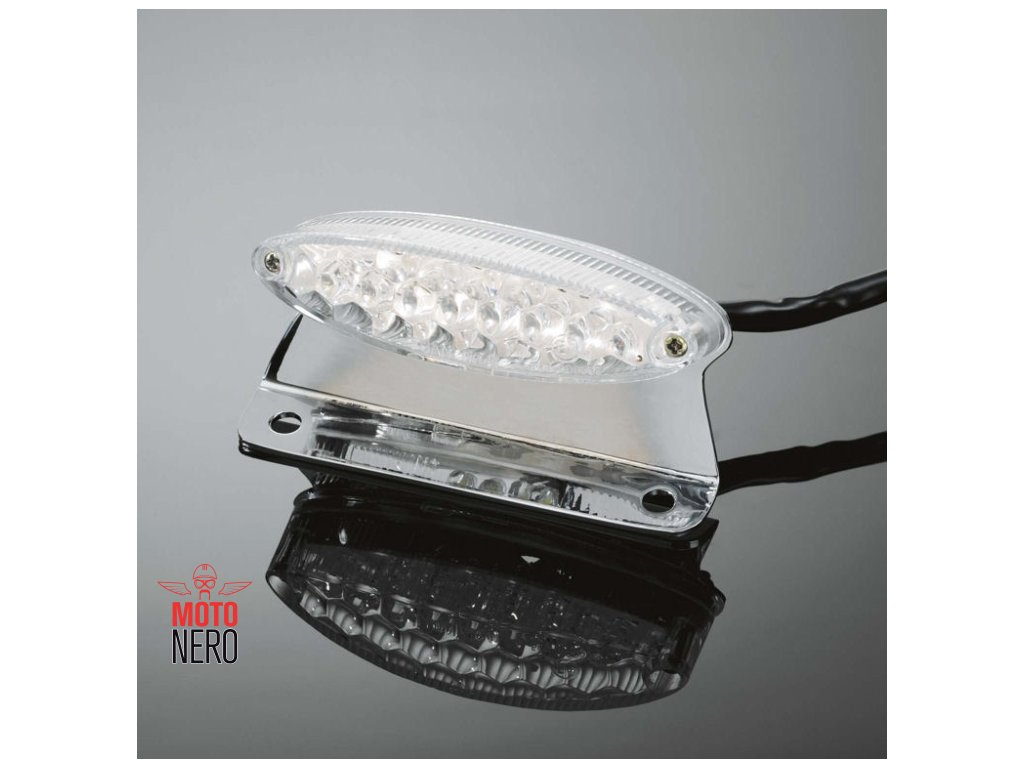 Koncové moto světlo Highway Hawk MINI s LED, držák SPZ, E-mark, chrom (1ks)