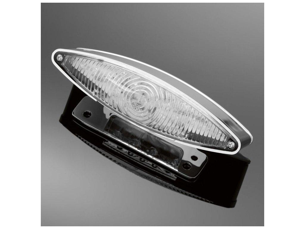Koncové moto světlo Highway Hawk TECH GLIDE s LED, držák SPZ, E-mark, chrom (1ks)