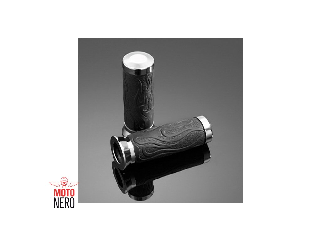 Gripy 25mm Highway Hawk FLAME, černá/chrom (2ks)