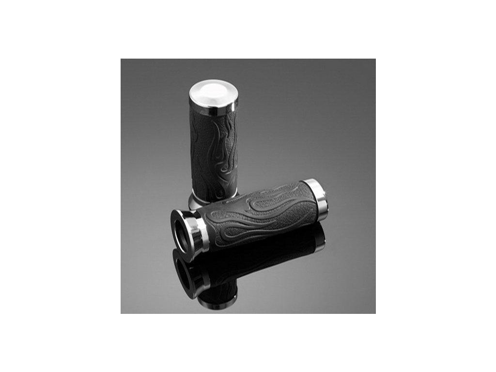 Gripy 22mm Highway Hawk FLAME RUBBER, černá/chrom (2ks)